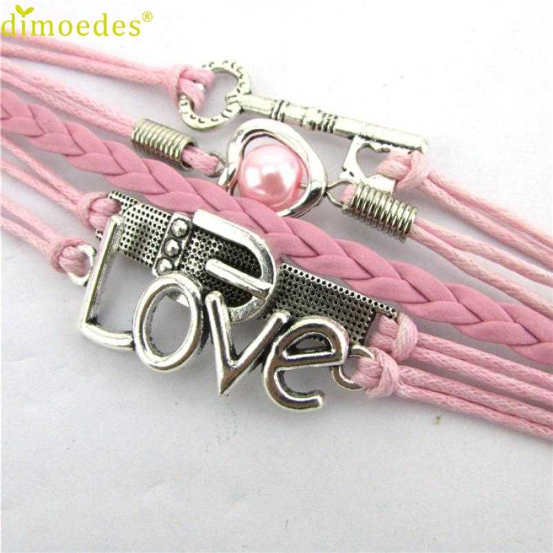 Gussy Life 8 wholesale Fashion Infinity Heart Pearl Love Key Leather Alloy Charm Bracelet Pink Jan17