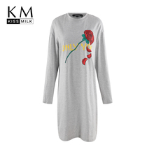 Kissmilk 2018 Plus Size Floral Printed Women Dress Large  Long Sleeve Straight Female Big Lady T-shirt Mini