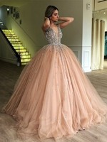 Bling Ball Gown Gold Quinceanera Dresses Rhinestone Puffy Tulle Prom Dresses Elegant V Neck Sweet 15 Year Old 2018 princess gown