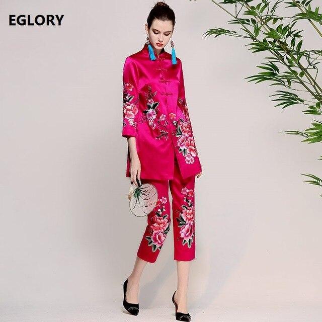 Nouveau pantalon ensembles femmes costume 2018 printemps été femme Lux broderie Floral Vintage boutons longs manteaux veste + pantalon Slim Capris