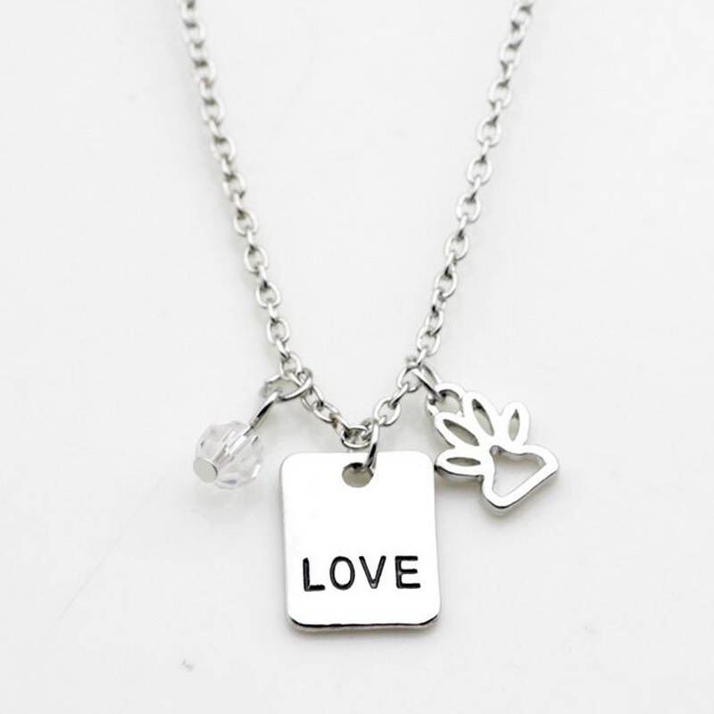Love Rescue Letter Love Word Dog Lover Necklace Cat Dog Paw Print Pendant Necklace Mothers Day New Fashion
