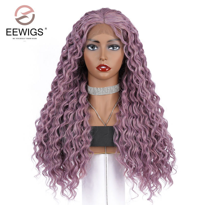 EEWIGS Hand Tied Purple Color Natural Long Loose Wave Heat Resistant Fiber Hair Glueless Synthetic Lace Front Wig For Women