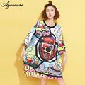azouari 2016 plus size European style fashion trend of large size women long section Sleeve Printed T-Shirt