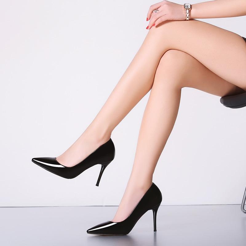 Chaussures simples monochromes, à talons hauts, rencontres décontracté de mode professionnelle - 3