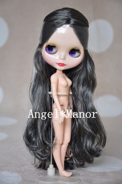 nude blyth doll with jointed body black with grey hair for girls gift
