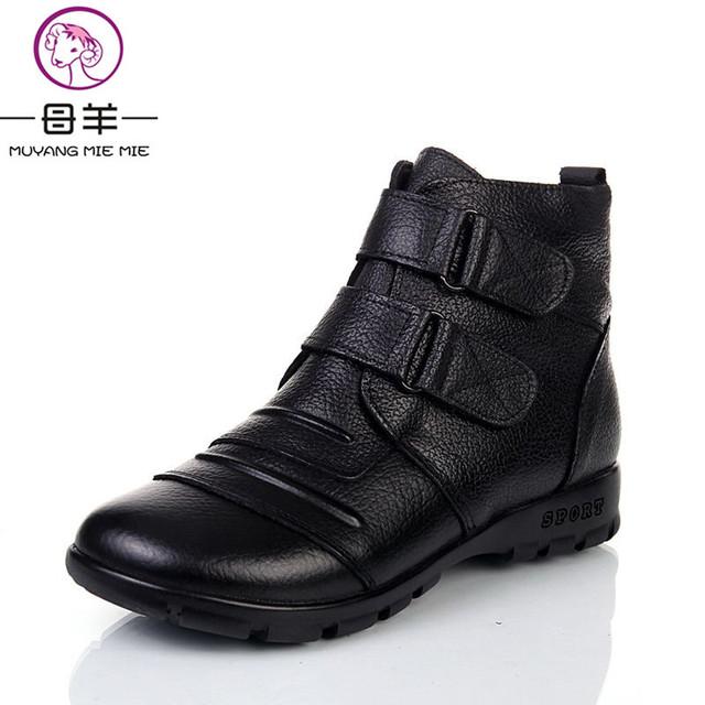 MUYANG MIE MIE 2016 Moda Inverno Mulheres Sapatos de Couro Genuíno Mulher Mulheres Botas de Neve Plana Botas Femininas Ankle Boots Casuais