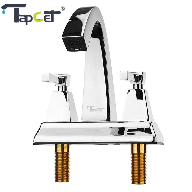 TAPCET Luxury Brass Bathroom Basin Faucet Dual Handle Two Holes Water Tap Chrome Deck Mounted Hot and Cold Water Sink Mixer Tap luxury rose gold deck mounted three holes sink faucets hot and cold water mixer tap bathroom basin faucet mpsk011a