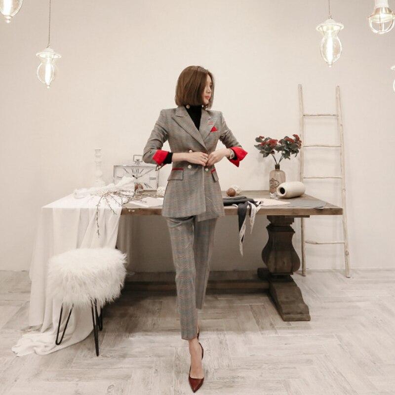 New Female High Quality Business Attire Blazers Suit Plaid Women Pants Suits 2 Two Piece Sets Long Slim Jacket & Pants