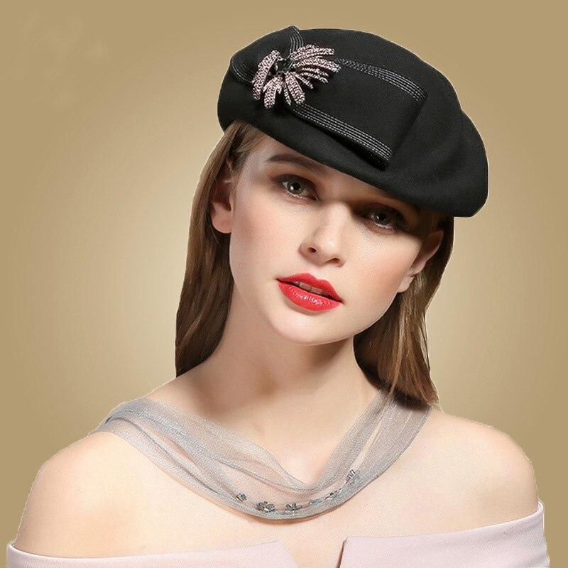 Compre FS Lana Negra Sombreros De Invierno Para Las Mujeres Boina ... 45a94cf6681