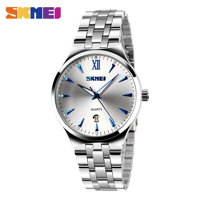 SKMEI Men Women Stainless Steel Quartz Wristwatches Top Brand Calendar Fashion Watch Waterproof Sport Watches Relogio Masculino skmei men s sport watches fashion chronograph quartz watch luxury stainless steel waterproof men wristwatches relogio masculino