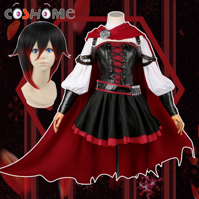 Anime Ball Gown White With Red Roses: Coshome Anime RWBY Wig Ruby Rose Cosplay Costume Women