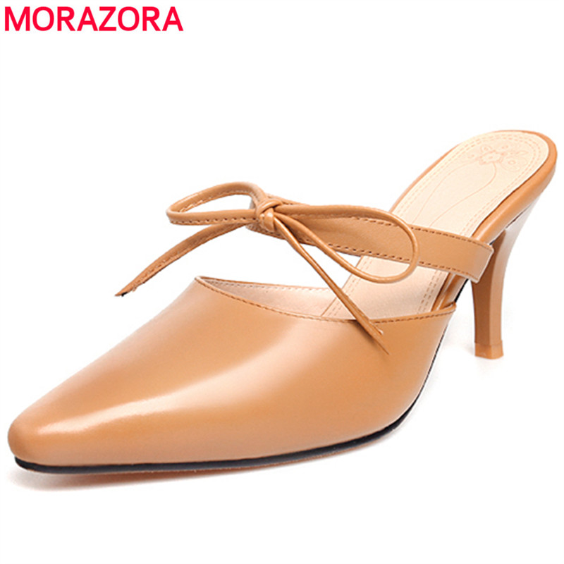 MORAZORA 2020 new arrival genuine leather women mules shoes 8cm high heels summer womens sandals sexy