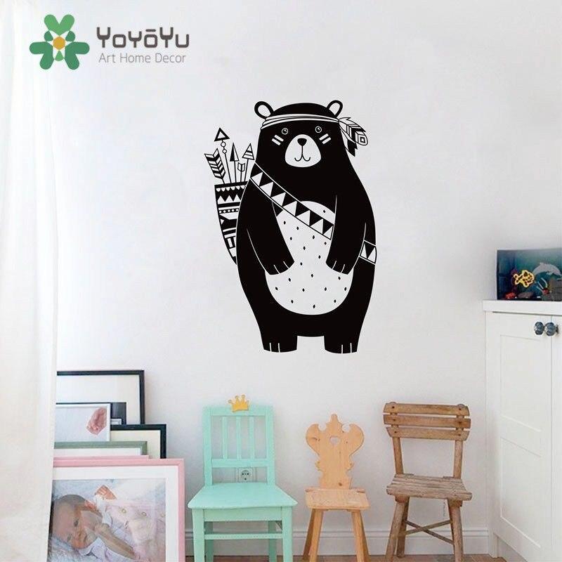 YOYOYU Wall Decal 40 Color Vinyl Art Removeable Sticker Tribal Bear Pets Animals KIDS Room Decoration Pet Shop Decor ZX003