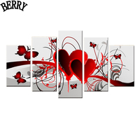 Home Decor Hand Painted Red Love Heart Butterfly Oil Painting Living Room Wall Painting 5 Pieces