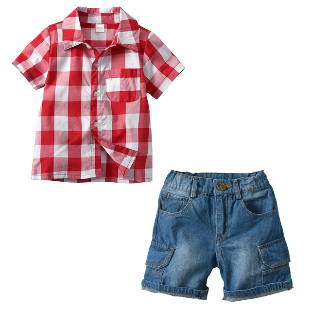 Boy's Summer Plaid Clothing Set