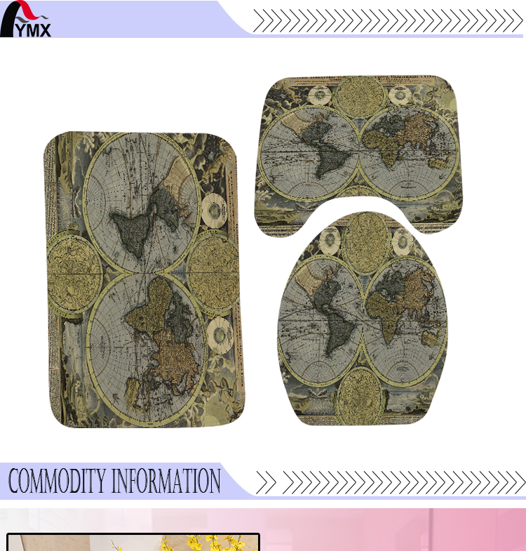 3pcsset world map printing toilet seat cover flannel fabric toilet 11 101 gumiabroncs Image collections