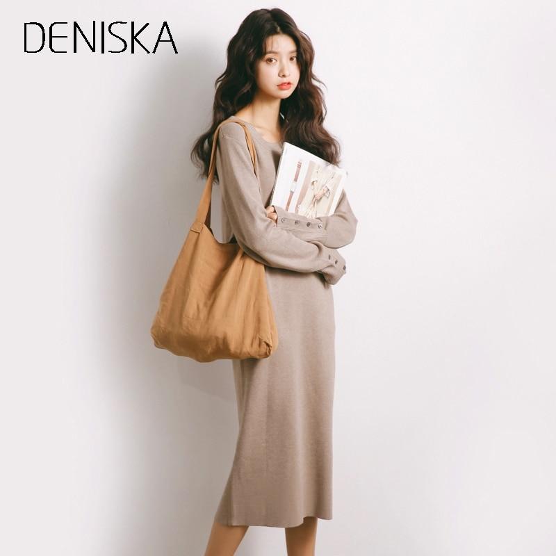 DENISKA Long Sweater Dress Women Pullover Loose Knitted Long Sleeve Vestidos Longo Robe Femme Elegant Khaki Autumn Winter Dress v neck layered long sleeve pullover sweater