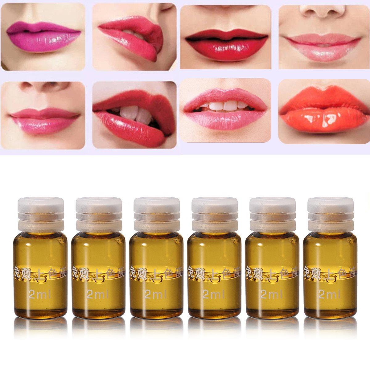 6 teile/schachtel Effektive Augenbrauen Lippen Tattoo Make-Up Feste Farbe Flüssigkeit Permanent Tattoos Make Up Hilfsmittel Innerhalb Eines Minuten