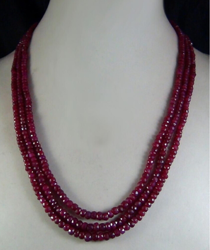 Free shipping 2x4mm NATURAL  FACETED BEADS NECKLACE 3 STRAND 4.28 shipping  PNS116