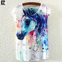 13p Summer Women Ink Painting Loose T Shirt Ultra Thin Cool Fashion Horse Cat Pattern 3D