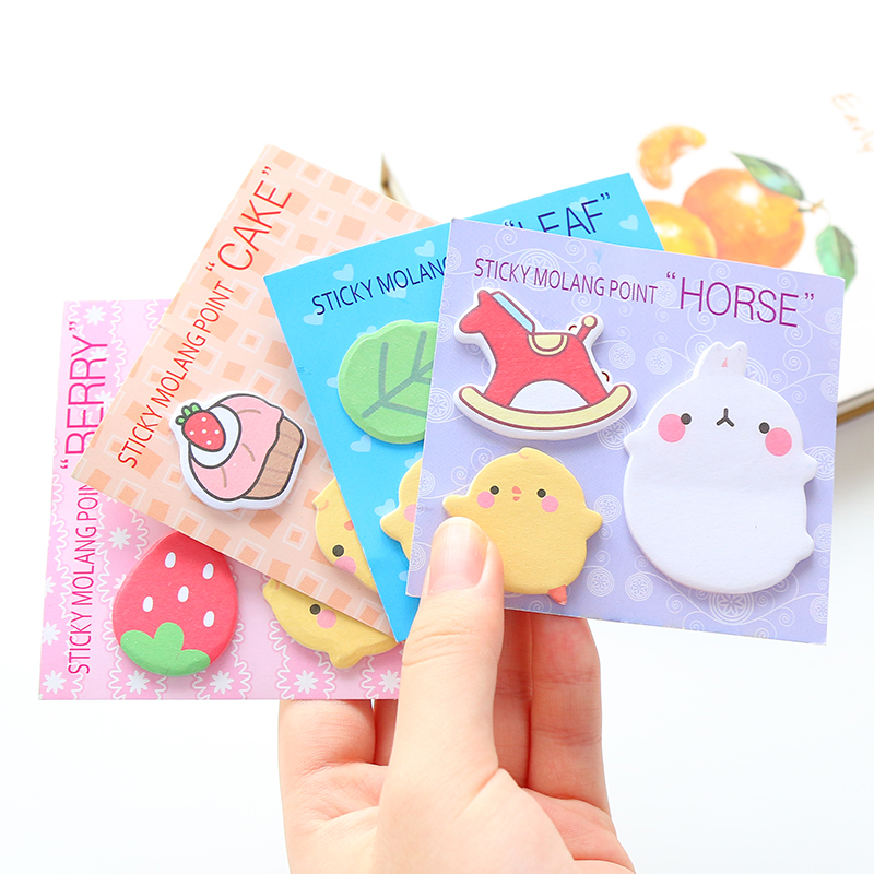 4Pcs/Lot Cute Molang Rabbit N Times Self-Adhesive Memo Pad Sticky Notes Post It Bookmark School Office Supply Gift E2117