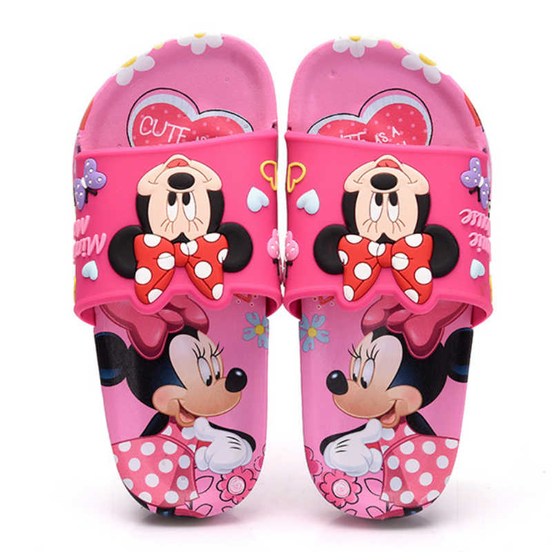 2019 Children Slippers Summer Boy Mickey Home Non-slip Shoe Girls Minnie Cartoon Slippers Kids Bathroom Indoor Shoe Size 30-35