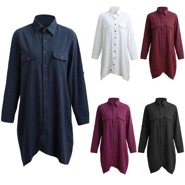 Long Sleeve Blouse Shirts Women tunics Plus Size 3XL 4XL 5XL OL Long Tops Irregular Hem Buttons Loose Casual Vintage Tops female 5