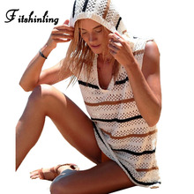 Fitshinling 2018 Summer knitted dress female hollow out sleeveless hooded beach dresses swimwear stripe sundresses women