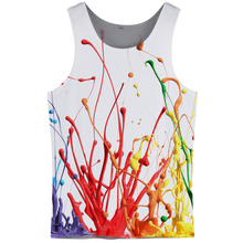 Cloudstyle 3D Tank Tops Men Colorful Painting Print Sleeveless Vest Active Bodybuilding Cool Fashion Casual Streetwear
