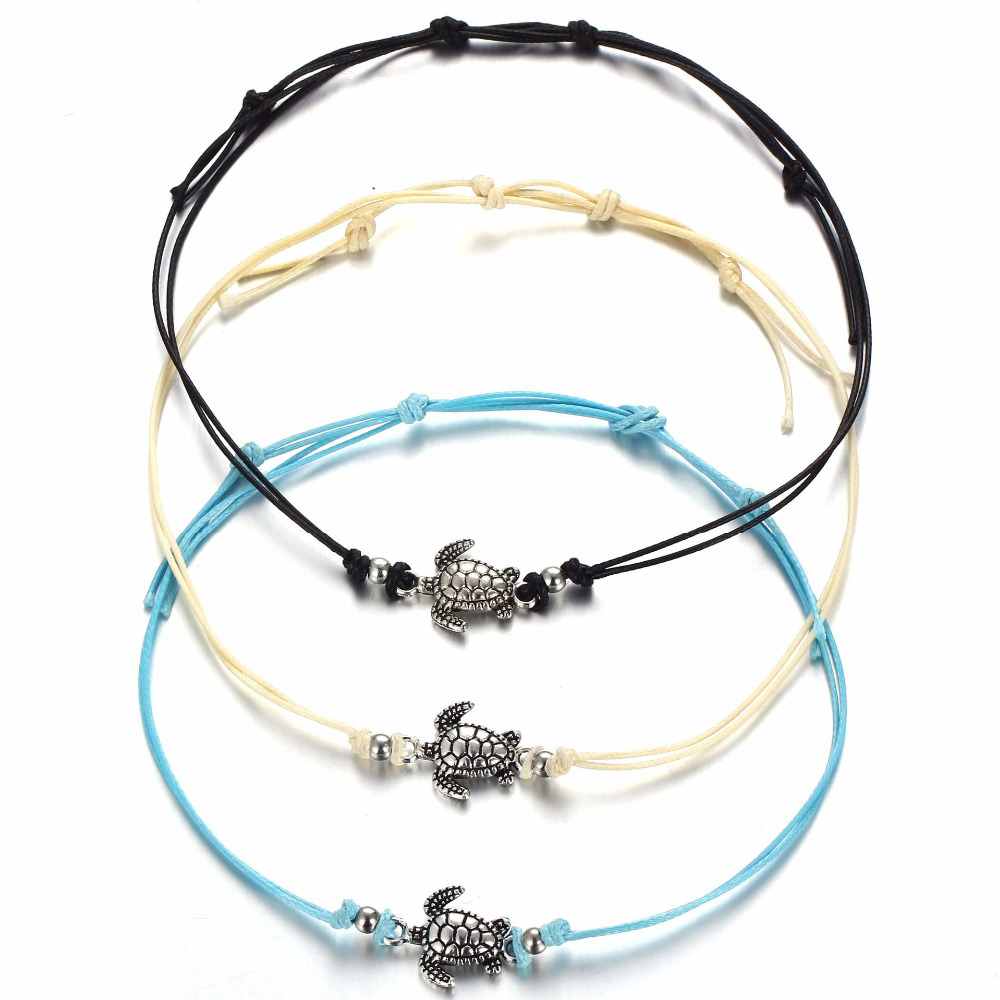 10 Teile/los Schildkröte Anhänger Fußkettchen Knöchel Armband Antik Silber Farbe Perlen Seil Bein Kette Barfuß Sandale Strand Fußschmuck