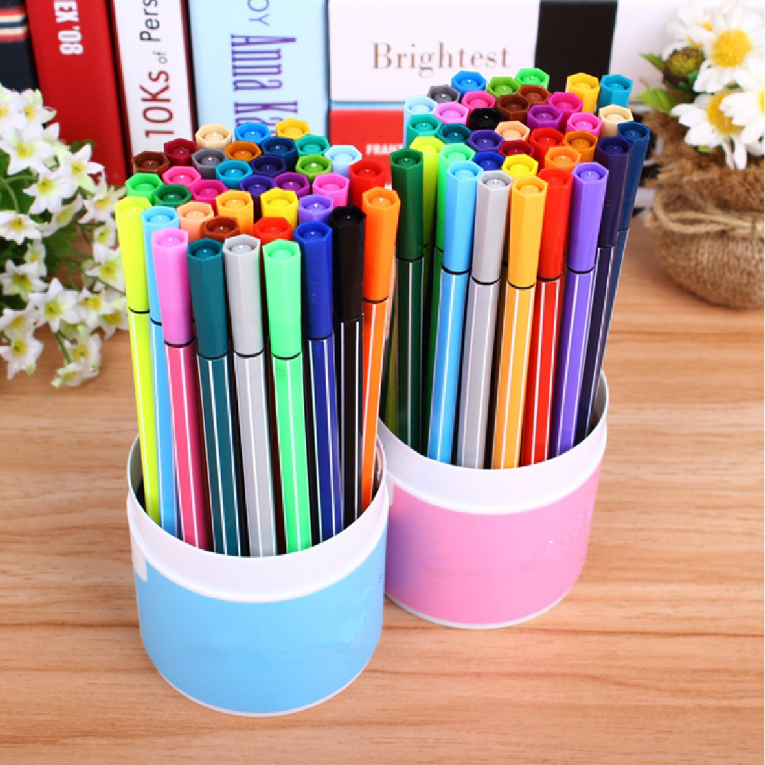 36Pcs Water Color Pen Brush Marker Highlighter Stationery Markers Art Supplies Material For School Kids refillable 1 pc japan kuretake water brush ink pen for water color calligraphy painting illustration pen office stationery