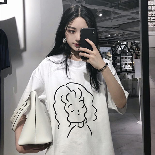 836475933535 2018 Summer Korean Ulzzang Women T-shirt Japanese Harajuku Cartoon Pattern  Oversized Female T Shirts Kawaii Loose Street Tops