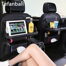Couro do plutônio assento de carro volta saco dobrável mesa organizador almofada bebida cadeira caixa armazenamento viagem estiva tidying acessórios do automóvel