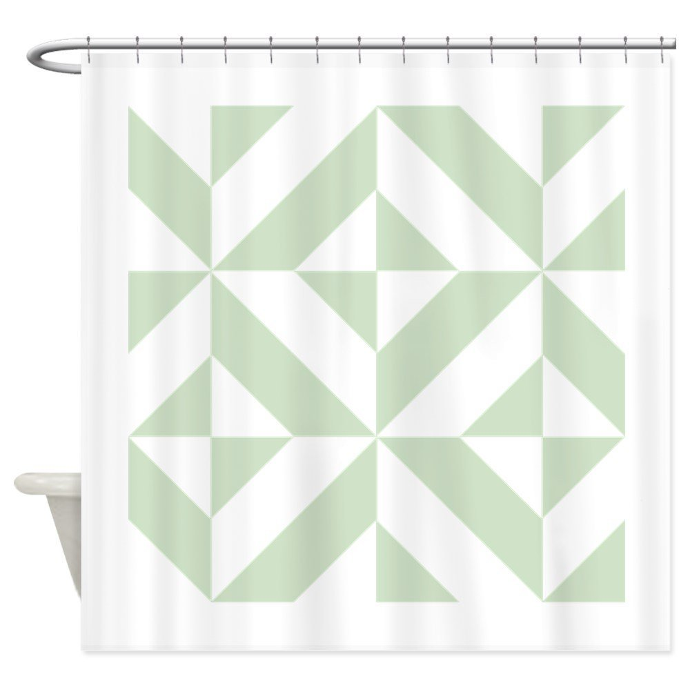 Sage Green Geometric Cube Pattern Shower Curtain Decorative Fabric Set And Anti Slip Floor Mat Outdoor Rugs In Curtains From Home