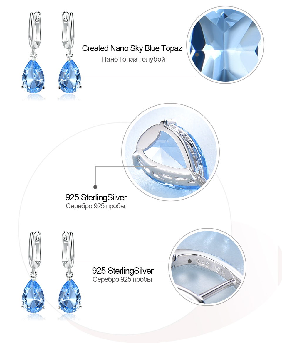 UMCHO  Nano Sky Blue Topaz 925 sterling silver earring for women EUJ095B-1-pc (7)