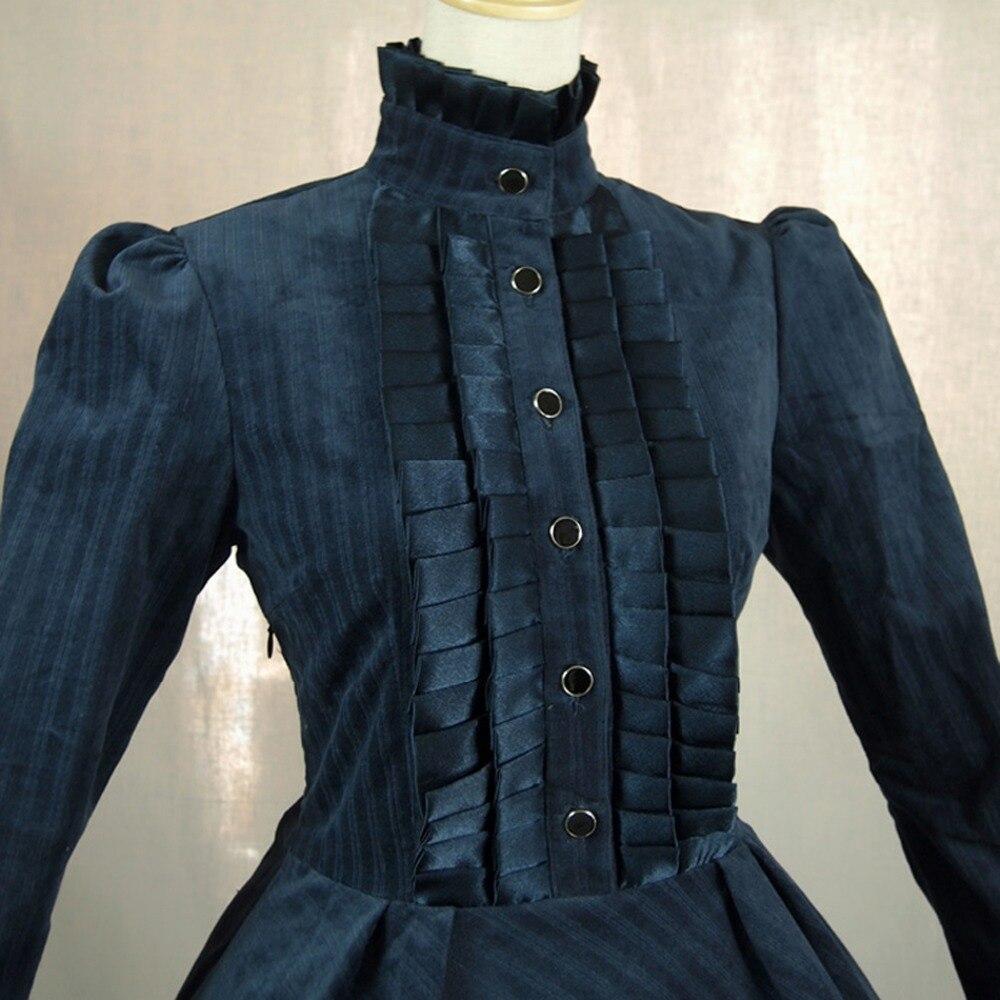 Vestido de oficina de Primavera Otoño de mujer británica vintage lolita disfraz de pana vestido Casual plisado largo rompevientos - 4