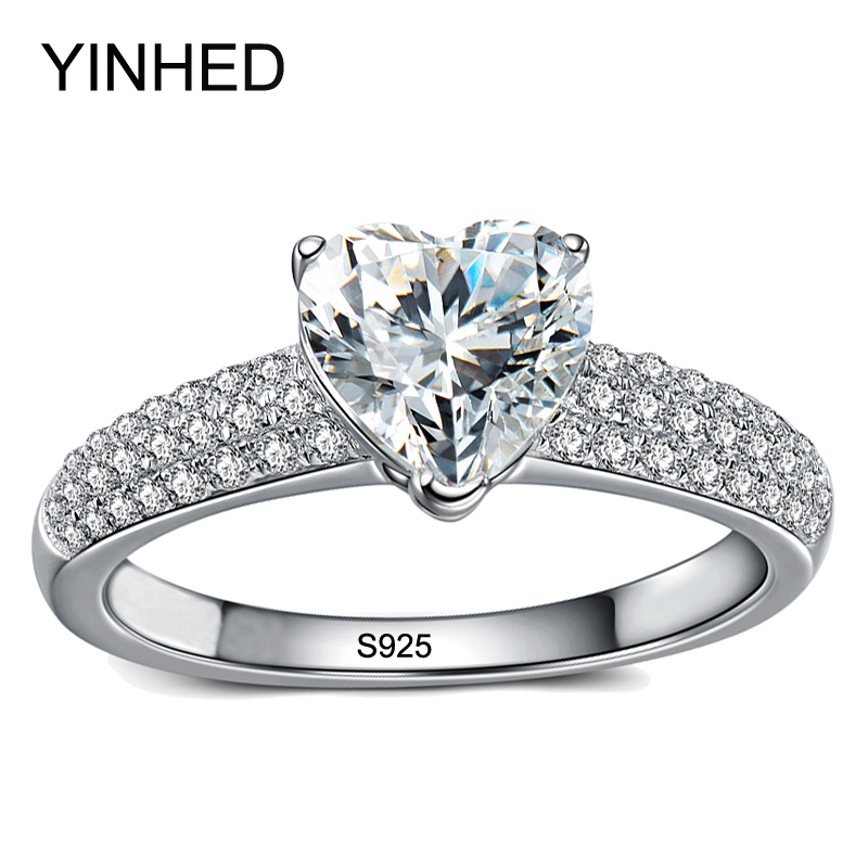 yinhed 100 genuine solid 925 sterling silver ring heart shape 2ct cz diamant engagement wedding rings for women zr179 - Heart Wedding Rings
