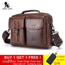 595668a05702 LAOSHIZI LUOSEN из натуральной кожи Для мужчин мужская сумка Винтаж мужской  Сумки Курьерские сумки Для мужчин