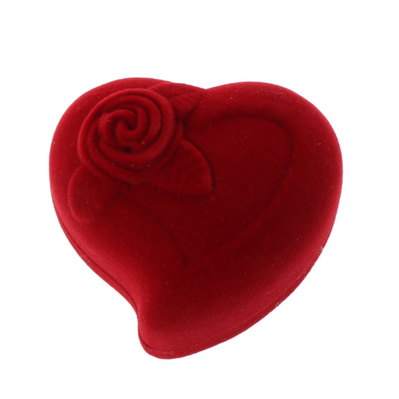 Free Shipping Double Wedding Rings Box Velvet Heart Shape Red Rose Flower Box Jewelry Display