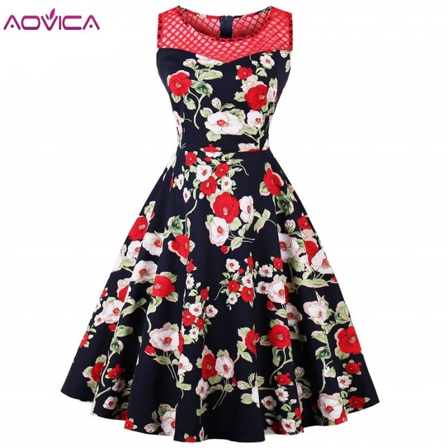 Aovica S 4XL Plus Size 50s Summer Vintage Dress O Neck Hollow Out Mesh  Patchwork Pin Up Party Elegant Female Retro Dresses