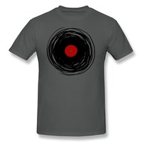 Round Neck Unique Spinning With A Vinyl Record Retro Music DJ Men T Shirt Cheap Sale