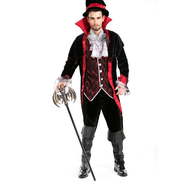 New Cool Adult Boys Halloween Devil Costumes Vampire Count Masquerade Role play European American Game Cosplay Uniform A155814