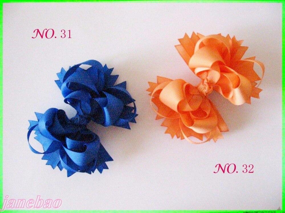 100 шт. 4,5 ''бутик забавные, для волос для девочек, бант из волос Луки сплошной цвет фанки многослойное заколки для волос