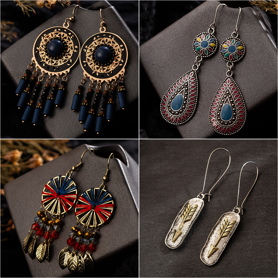 Multiple Vintage Ethnic Dangle Drop Earrings 1