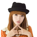 Elegant Fedoras Hats With Ears Round Wide Brim Bucket Hat Sombrero Feminino Spring Autumn Woolen Felt Hats For Women