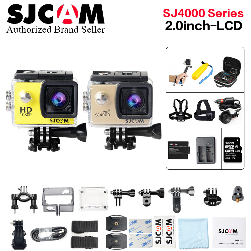 лучшая цена Original SJCAM SJ4000 /SJ 4000 WIFI 2.0 action camera full hd 1080p waterproof Sport Camera Diving 30 Waterproof beter gopro cam