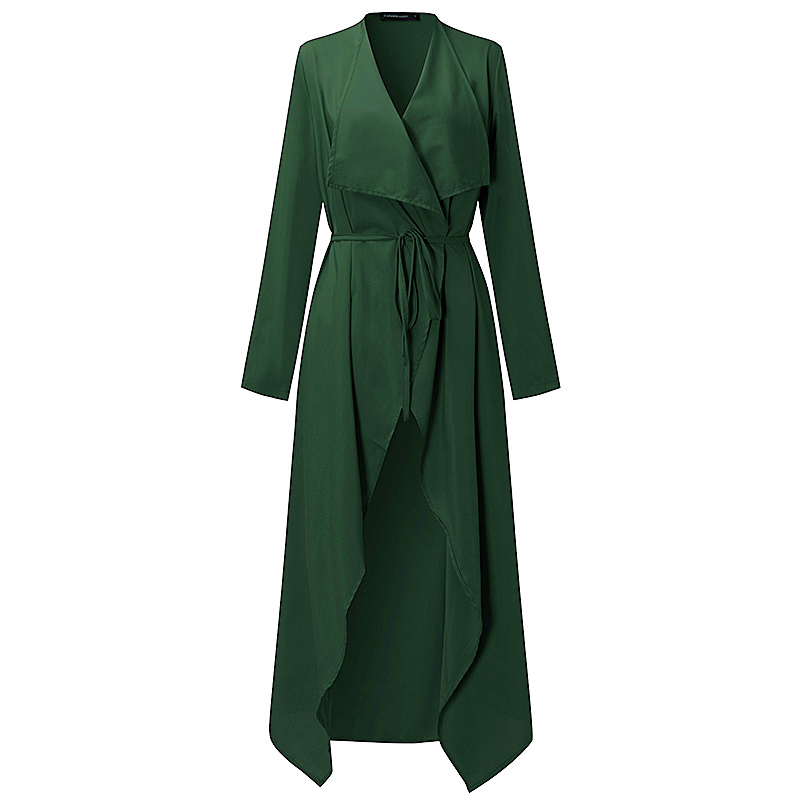 Plus Size S-3XL Women Ladies Casual Long Sleeve Slim Fit Thin Waterfall Long Belted Cardigan Duster Coat Jacket Overalls Outwear 2
