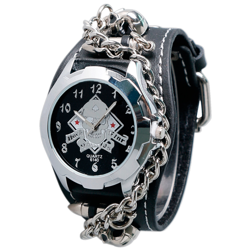 2017 New Fashion Black Punk Watch Rock Skull Quartz Wrist ...