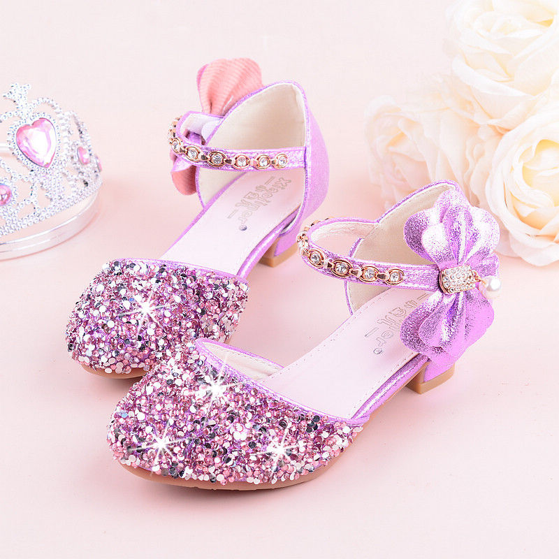 2019 Girls Bow-knot Princess Shoes With High-Heeled, Kids Glitter Dance Performance Summer Shoes, Purple , Pink & Silver 26-38