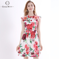 SEQINYY Printed Dress Colorful Rose 2018 Summer New Plus Size 4XL Ruffled Flowers Buttons High Quality Sleeveless Mini Dress